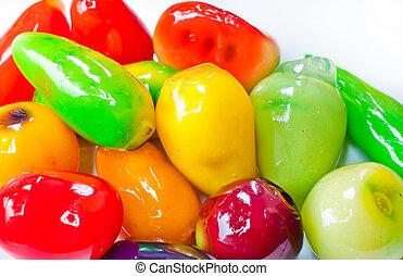 Sweetmeats fruit on white background isolate