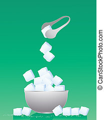 sweetness - an illustration of a bowl of sugar cubes with...
