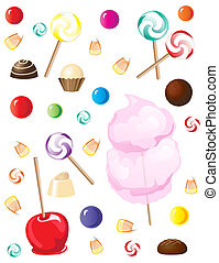 A selection of sweets and candies isolated on white background.