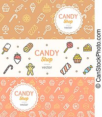 Sweets and Bakery Candy Banner Flyer Horizontal Set. Vector