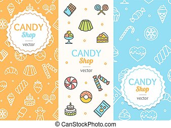 Sweets and Bakery Candy Banner Flyer Vertical Set. Vector