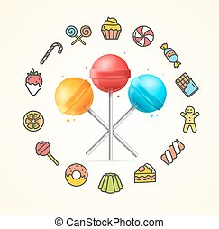 Sweets and Bakery Candy Concept. Vector