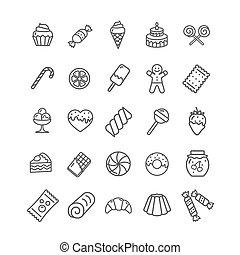 Sweets and Bakery Icon Black Thin Line Set. Vector
