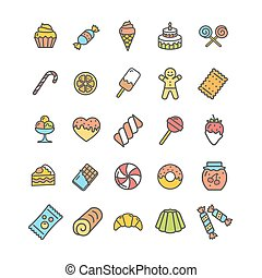 Sweets and Bakery Icon Thin Line Set. Vector