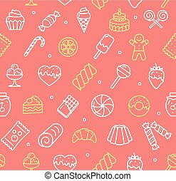 Sweets and Bakery Pattern Background. Vector