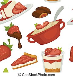 Sweets and cakes pasty foot baked meal with strawberries seamless pattern vector chocolate and ice cream in mug saucer with spoon slices of berry with toppings and jelly with int leaf decoration