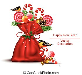 Sweets and candies in a red bag Vector realistic. Happy New Year Holidays card backgrounds