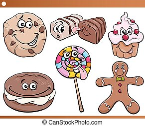 sweets and cookies set cartoon - Cartoon Illustration of...