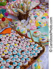 Sweets and cup cakes with balloons