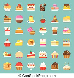 Sweets and dessert icon set, flat style