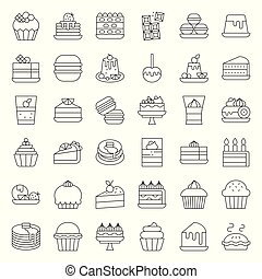 Sweets and dessert icon set, outline style
