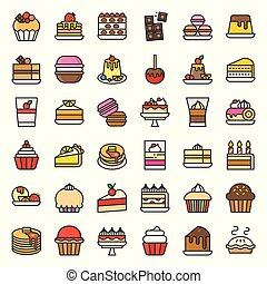 Sweets and dessert vector icon set, filled outline