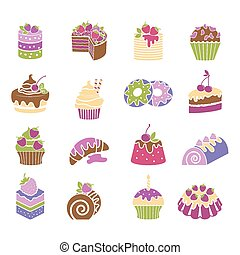 Sweets and desserts icons in spring colors