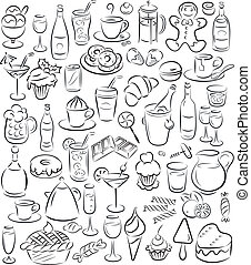 vector illustration of sweet food and drinks collection in black and white