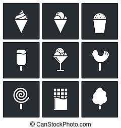 Sweets and ice cream icon set - Sweets and ice cream icon...