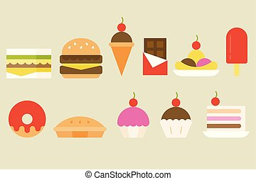 Sweets and junk food icon, vector set in flat design