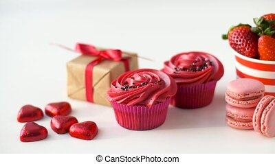 sweets and strawberries in st valentines day - st valentines...