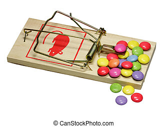 rat trap - Sweets are attractive on a perilous rat trap.