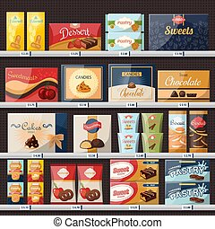 Sweets at store or shop showcase with candies