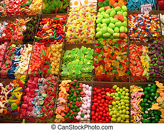 sweets background - sweets on a market - Mercat de la...