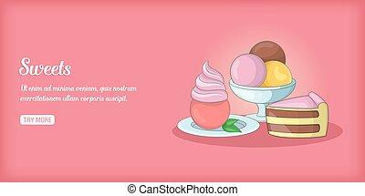 Sweets banner horizontal, cartoon style