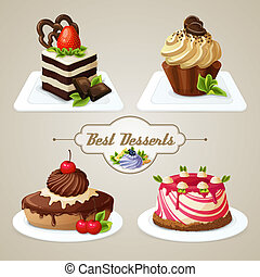 Sweets cakes dessert set - Decorative sweets desserts set...