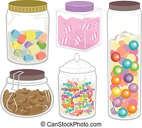 Sweets Candies Bottles Jars - Illustration Featuring a Wide...