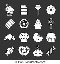 Sweets candy cakes icons set grey