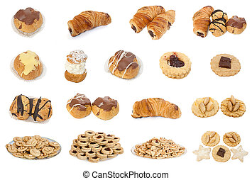 collectio of sweets, candies, cookies and pastries over white background