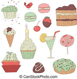 sweets, colored vector elements