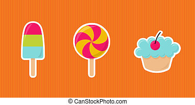 sweets - cute cartoon ice cream, lollipop and cupcake