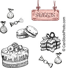 Sweets. Dessert. Set of hand drawn illustrations