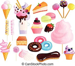 Sweets Desserts Colorful Icons Set