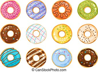 Sweets donuts sugar glazed. Vector fries pastry doughnut icons with holes isolated on white background