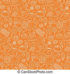 Sweets doodle seamless pattern
