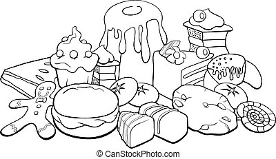sweets for coloring book - Black and White Cartoon...
