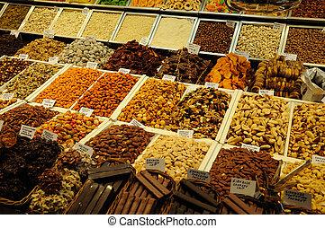 Sweets for sale in La Boqueria market, Barcelona Spain