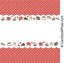 Sweets frame on red in dots