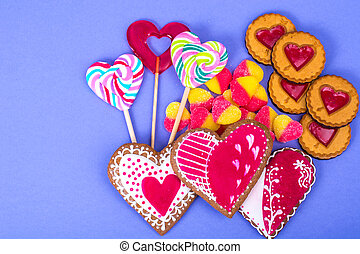 Sweets, gingerbread, lollipops, cookies for Valentine's Day