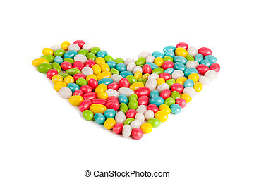 sweets heart - colored caramel sweets pebbles heart image ...