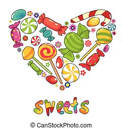Sweets heart. Vector illustration with diffetent types of sweets
