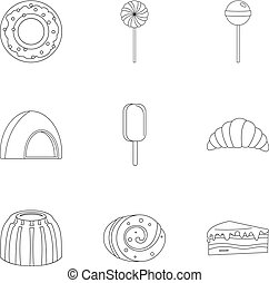 Sweets icon set, outline style