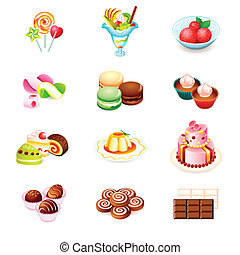 Sweets icons - Colorful icons with yummy sweets isolated