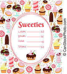Sweets menu or price list template within an oval frame surrounded by colorful icons of ice cream glazed and iced cakes pastries candy milkshakes and desserts on white