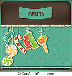 Sweets on strings. Vintage polka dots background. Vector...