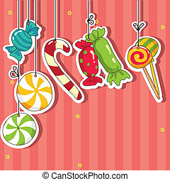 Sweets on strings. Vector illustration.