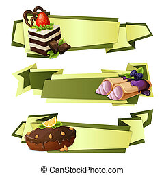 Sweets paper banners - Decorative sweets food paper banners...