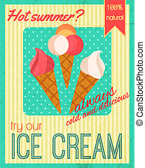Sweets retro poster - Cold and delicious sweet dessert cafe ...