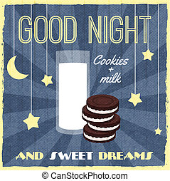Sweet dreams retro poster with biscuits dessert and milk vector illustration