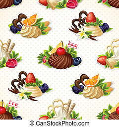 Sweets seamless background - Decorative sweets dessert...